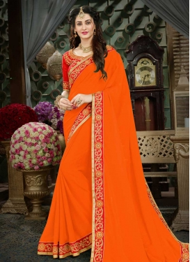 Embroidered Work Faux Georgette Orange and Tomato Classic Saree
