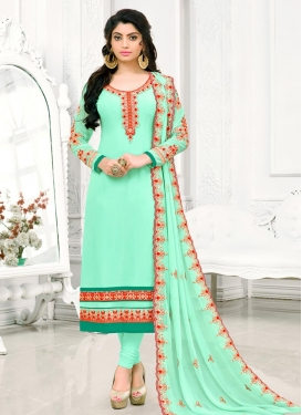 Embroidered Work Faux Georgette Pakistani Straight Salwar Kameez