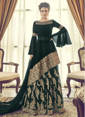 Embroidered Work Faux Georgette Palazzo Designer Salwar Kameez