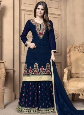 Embroidered Work Faux Georgette Palazzo Straight Salwar Kameez