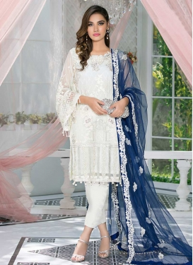 Embroidered Work Faux Georgette Pant Style Designer Salwar Suit