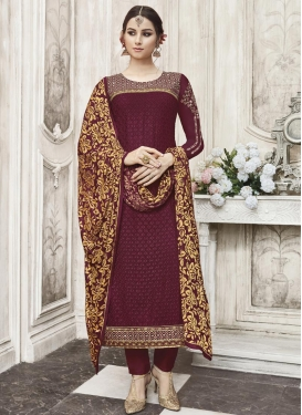Embroidered Work Faux Georgette Pant Style Pakistani Salwar Suit