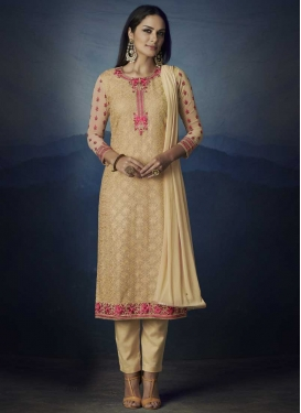 Embroidered Work Faux Georgette Pant Style Salwar Suit