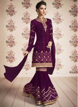 Embroidered Work Faux Georgette Sharara Salwar Kameez