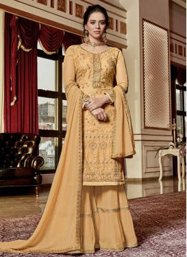 Embroidered Work Faux Georgette Sharara Salwar Suit