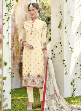 Embroidered Work Faux Georgette Straight Salwar Kameez