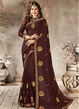 Embroidered Work Faux Georgette Traditional Designer Saree