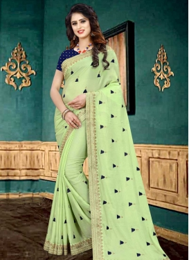 Embroidered Work Faux Georgette Traditional Designer Saree For Festival