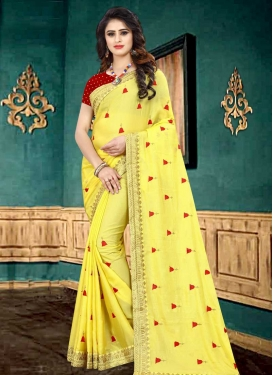 Embroidered Work Faux Georgette Traditional Saree For Ceremonial