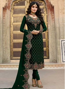 Embroidered Work Faux Georgette Trendy Churidar Salwar Kameez