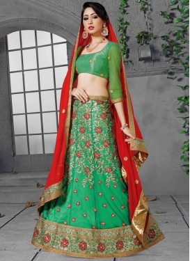 Embroidered Work Faux Georgette Trendy Lehenga