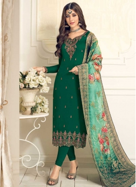 Embroidered Work Faux Georgette Trendy Pakistani Salwar Kameez