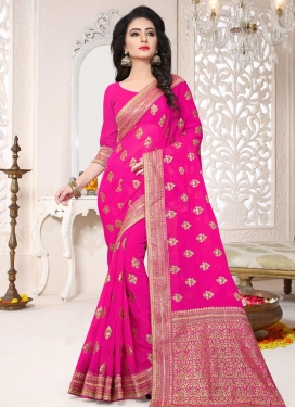 Embroidered Work Faux Georgette Trendy Saree For Festival