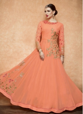Embroidered Work  Flaring Anarkali Suit