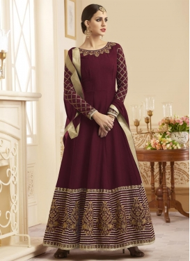 Embroidered Work Floor Length Anarkali Salwar Suit For Ceremonial