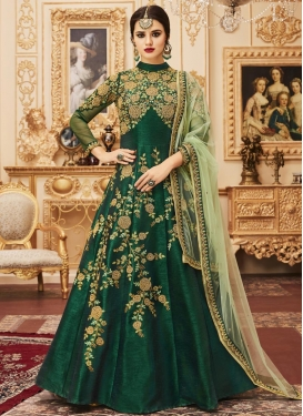 Embroidered Work Floor Length Kalidar Salwar Suit
