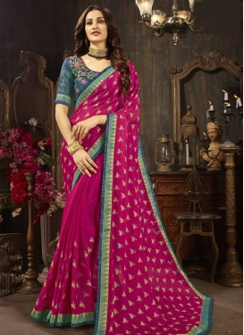 Embroidered Work Fuchsia and Grey Trendy Classic Saree