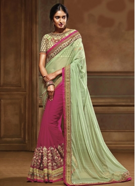 Embroidered Work Fuchsia and Mint Green Half N Half Saree