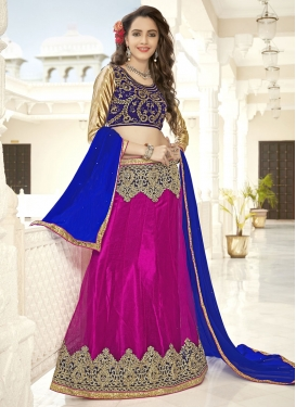 Embroidered Work Fuchsia and Navy Blue Trendy Lehenga
