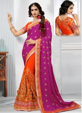 Embroidered Work Fuchsia and Orange Half N Half Designer Saree