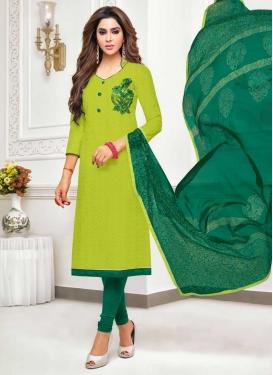 Embroidered Work Green and Mint Green Cotton Silk Churidar Salwar Kameez