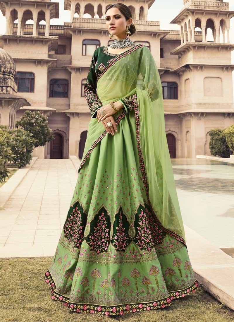 Embroidered Work Green and Mint Green Satin Silk Lehenga Choli