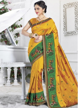 Embroidered Work Green and Mustard  Classic Saree