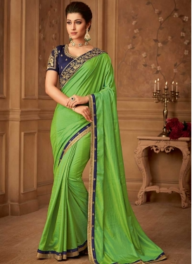 Embroidered Work Green and Navy Blue Contemporary Style Saree