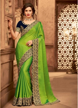Embroidered Work Green and Navy Blue Trendy Saree