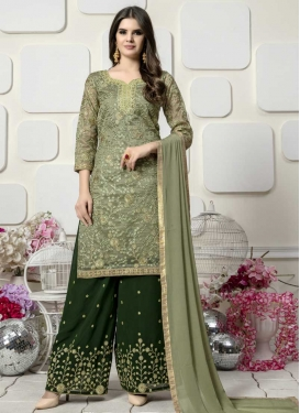 Embroidered Work Green and Olive Faux Georgette Designer Palazzo Salwar Kameez