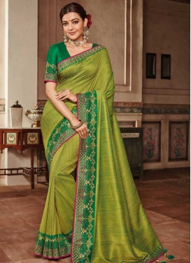 Embroidered Work Green and Olive Traditional Designer Saree