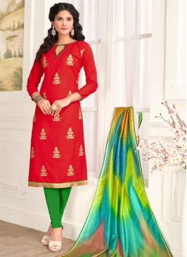 Embroidered Work Green and Red Straight Salwar Kameez