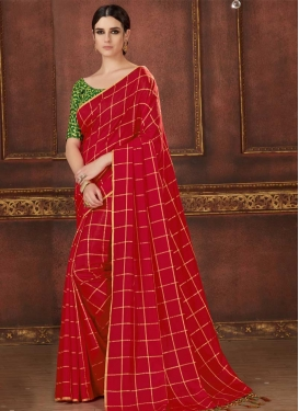 Embroidered Work Green and Red Trendy Classic Saree