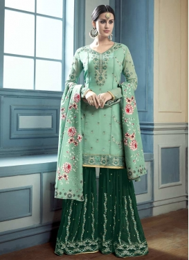 Embroidered Work Green and Sea Green Sharara Salwar Suit