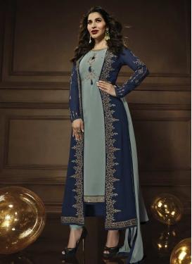 Embroidered Work Grey and Navy Blue Jacket Style Salwar Kameez