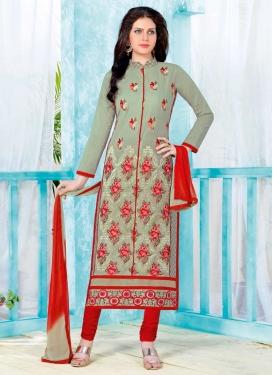 Embroidered Work Grey and Red Cotton Churidar Salwar Kameez