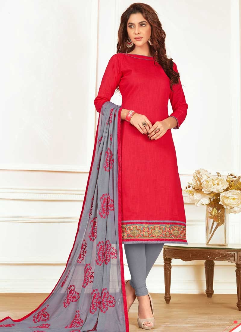 Embroidered Work Grey and Red Cotton Churidar Salwar Suit