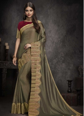 Embroidered Work Grey and Red Traditional Designer Saree