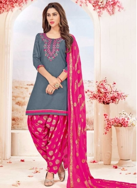 Embroidered Work Grey and Rose Pink Cotton Semi Patiala Salwar Kameez