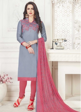 Embroidered Work Grey and Salmon Trendy Straight Salwar Suit