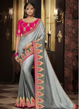 Embroidered Work Grey and Silver Color Designer Contemporary Saree