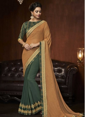 Embroidered Work Half N Half Saree For Ceremonial