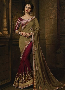 Embroidered Work Half N Half Trendy Saree