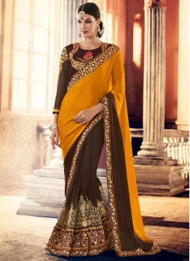 Embroidered Work Half N Half Trendy Saree For Ceremonial