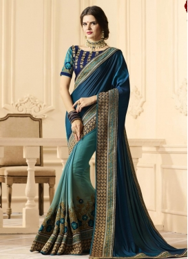 Embroidered Work Half N Half Trendy Saree For Festival