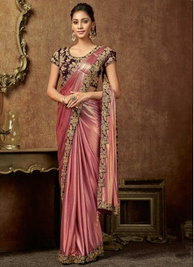 Embroidered Work Hot Pink and Maroon Traditional Designer Saree