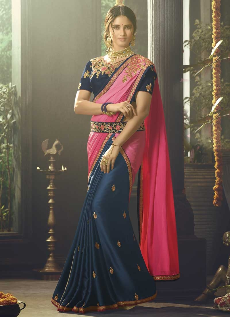 Embroidered Work Hot Pink and Navy Blue Half N Half Trendy Saree