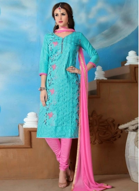 Embroidered Work Hot Pink and Turquoise Trendy Churidar Salwar Kameez