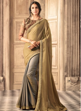Embroidered Work Jacquard Brown and Grey Half N Half Saree
