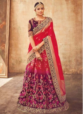 Embroidered Work Jacquard Silk A Line Lehenga Choli